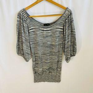 BEBE Semi Sheer 3/4 Sleeve Knit Top Silver